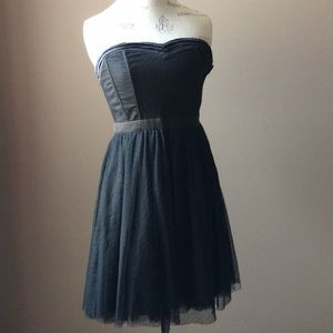 Black Satin & Tulle Strapless Dress